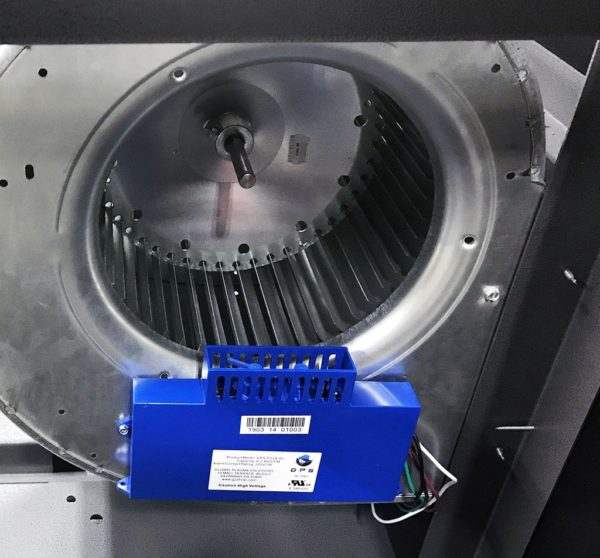 Close up view of the ionization blower on an industrial air purifier